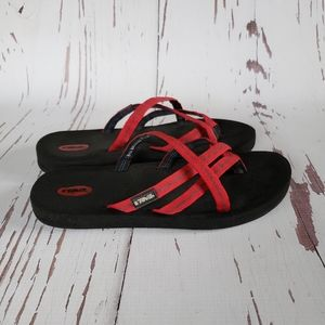 Teva strappy flipflos red sandals 7M
